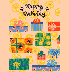 happy birthday with cute gift vector image