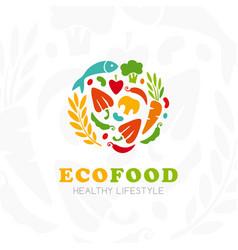 healthy lifestyle logo round emblem raw food vector image