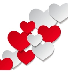 hearts white background vector image