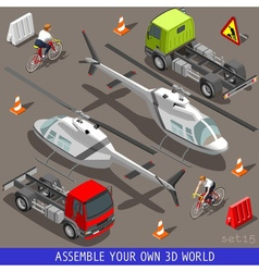 Isometric flat 3d vehicle aid carrier ride set vector