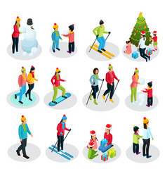 isometric people on winter holidays set vector image