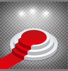isometric white round podium with red carpet vector image