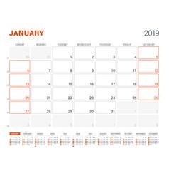 January 2019 calendar planner for 2019 year vector