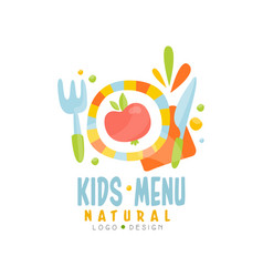kids natural menu logo design healthy organic vector image