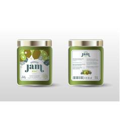 Kiwi jam label jar packaging sugar free vector