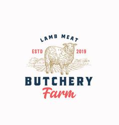 lamb meat farm retro badge or logo template hand vector image
