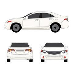 Large sport sedan three side view vector