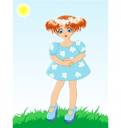 Little girl in blue dress vector