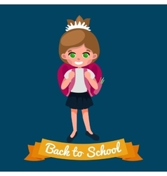 Little girl with school backpack and books back vector