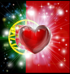 love portugal flag heart background vector image