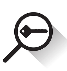 Magnifying glass with key icon vector