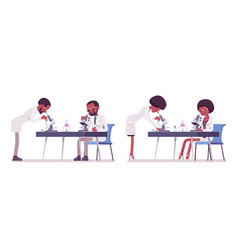 Male and female black scientist with microscope vector
