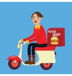 Man delivery fast food burger scooter motor cycle vector