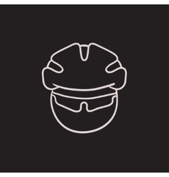 Man in bicycle helmet and glasses sketch icon vector image