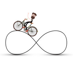 Man on bicycle on infinite road symbol vector
