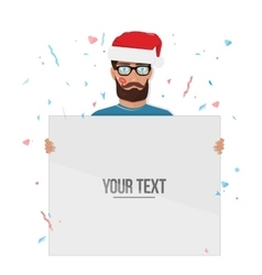 Merry christmas man with the Board isolated on vector