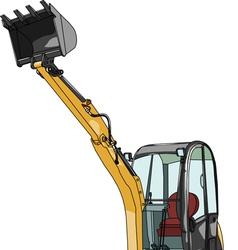 Mini excavator vector