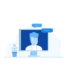 online medical consultation online doctor vector image