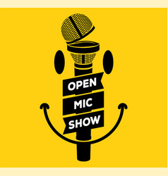 open mic night party show banner concept with vector image
