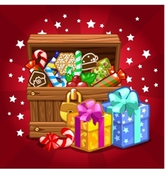 Open wood treasure chest with candy and cookies vector