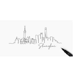 Pen line silhouette shanghai vector