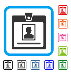 Person badge framed icon vector