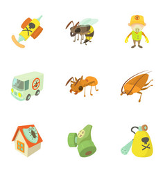 Pest extermination icons set cartoon style vector