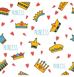 Princess seamless pattern with hand drawn crowns vector