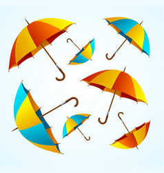 realistic 3d detailed color umbrella falling set vector image