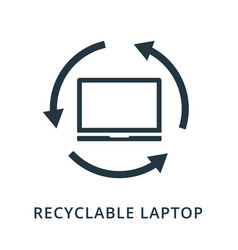 Recyclable laptop icon flat style icon design ui vector