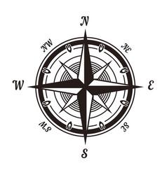 rose wind monochrome emblem with sides world vector image