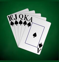 Royal flash spades with black poker chip vector