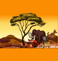 scene with many animals in field vector image
