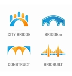 set abstract bridge logo vector image