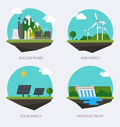 set icons with different types electricity vector image