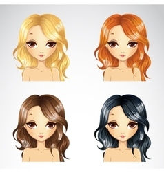Set Of Beauty Casual Hairstyle vector