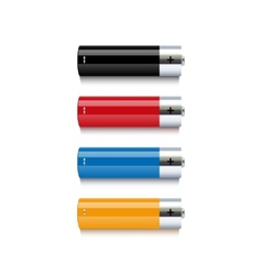 Set of colorful batteries on white background vector image