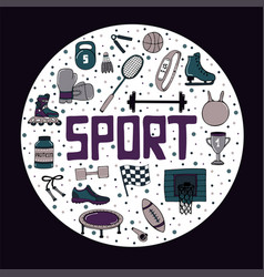 set of sports round form vector image