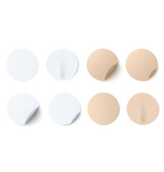 set of white and brown round vector image