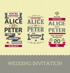 Set wedding stamps invitations vector