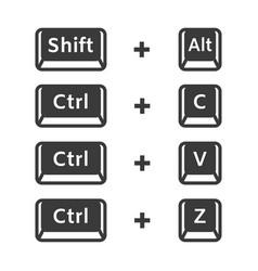 shift alt ctrl c ctrl v ctrl z keyboard buttons vector image