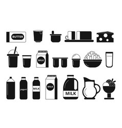 Silhouette and monochrome pictures of dairy milk vector