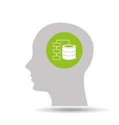 silhouette head data icon graphic vector image