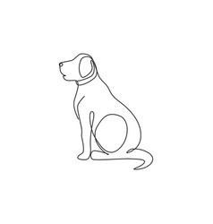 Single one line drawing adorable labrador vector