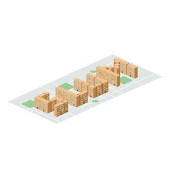 Slum district Isometric city buildings Yard among vector