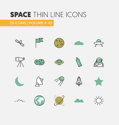 Space research linear thin line icons vector