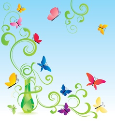 Spring fragrance bottle vector