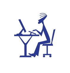 Stylized Silhouette Of Boy Working On Computer vector