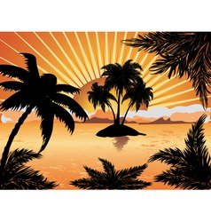 Sunset tropical island vector image