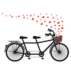 Tandem bicycle with red hearts vector